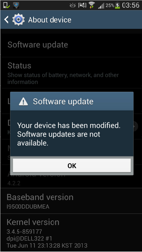 Android error. Device has been modified